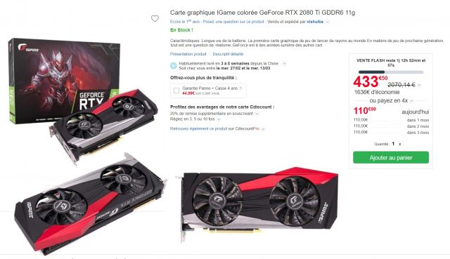 bon plan : Vente Flash Carte graphique IGame colorée GeForce RTX 2080 Ti GDDR6 11g