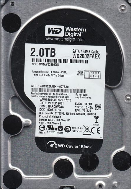 Western digital WD2002FAEX - Caviar Black 2To SATA III 64Mo