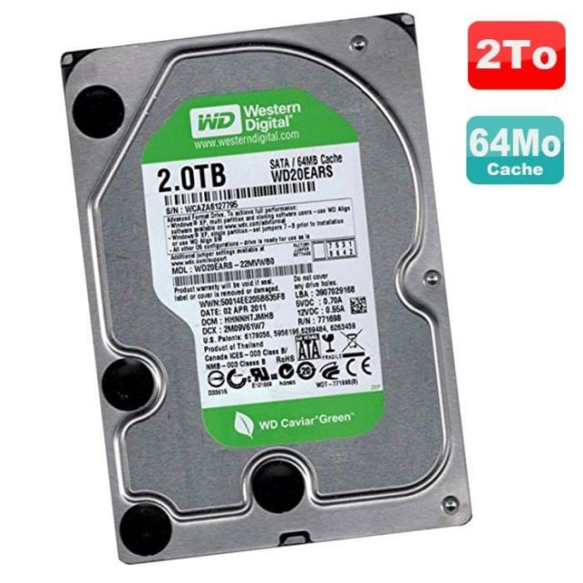 Caviar Green WD20EARS - 2To SATA II 64Mo