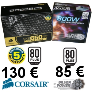 Test alimentation Silver Power SP-600A2C et Corsair TX650W