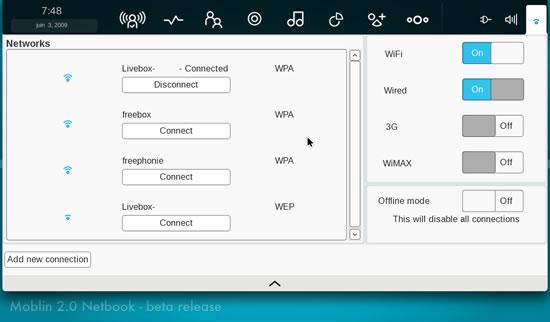 Un peu plus loin dans l'utilisation de Moblin, l'OS Linux par Intel