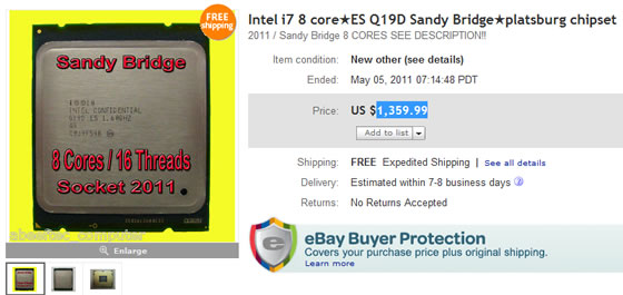 Un Sandy Bridge-E en vente sur E-B..