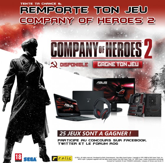 des jeux company of heroes 2 gagner chez asus rog concours autres. Black Bedroom Furniture Sets. Home Design Ideas
