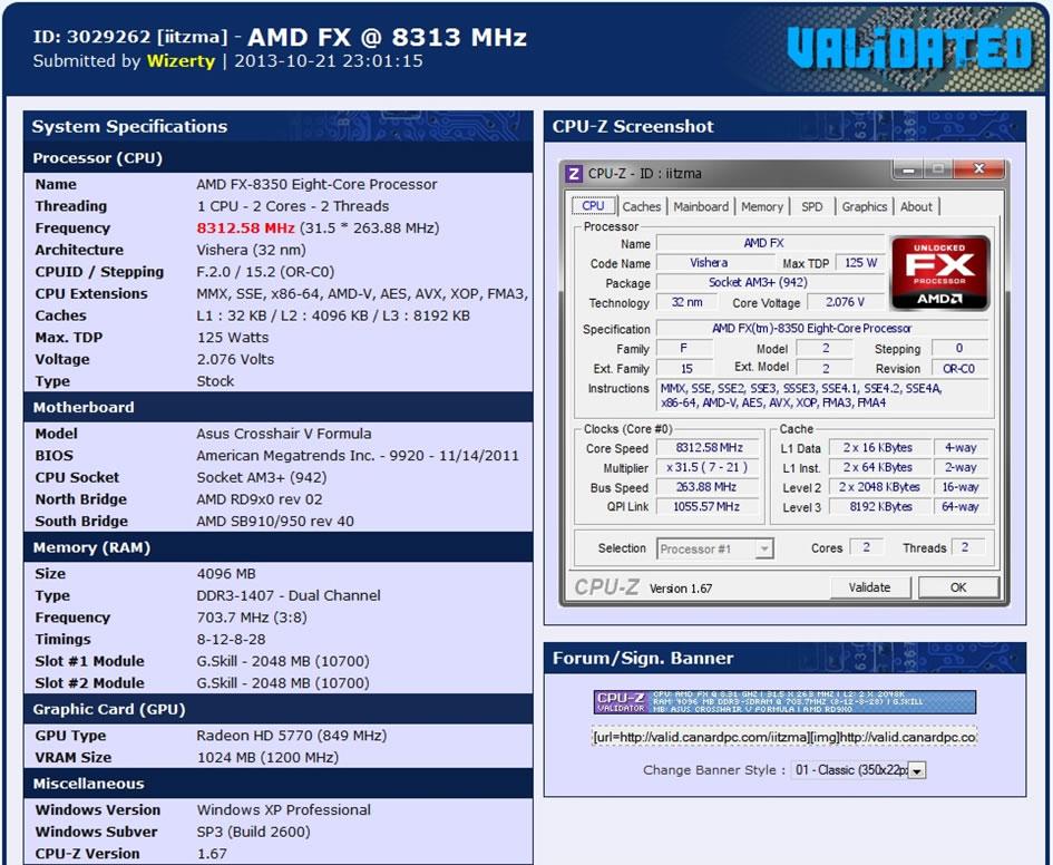 FX 8350 8312 MHz