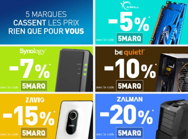 bons plans jibaka 5 marques promo ldlc gskill synology be quiet zavio zalman