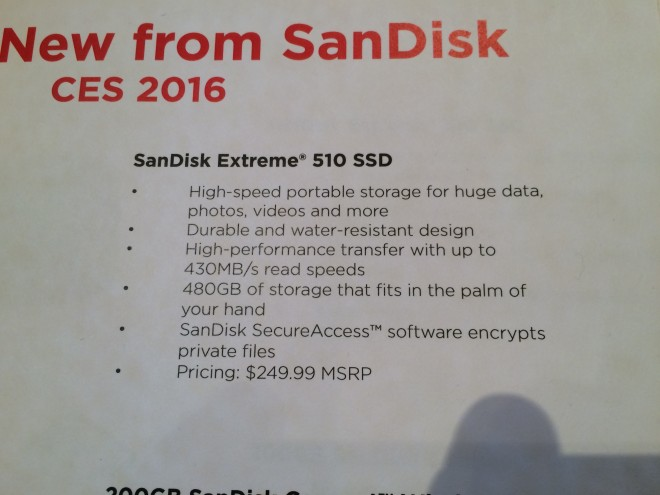 2016 sandisk annonce ssd portable rapide extreme 510