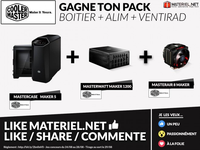 concours materiel net gagner pack maker boitier alimentation ventirad cooler master