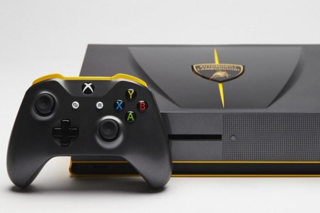 une console unique xbox one s en hommage la lamborghini centenario jeux pc consoles. Black Bedroom Furniture Sets. Home Design Ideas