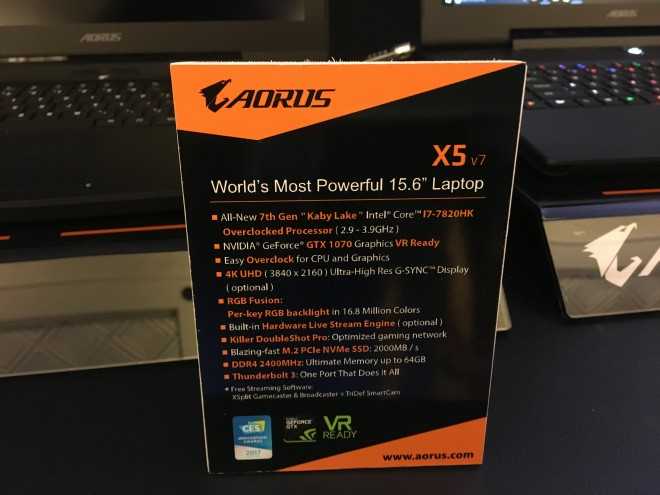 aorus passent intel kaby lake core i7-7820hk