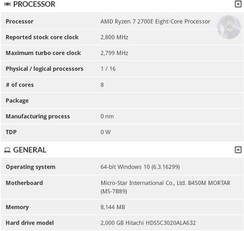 AMD Ryzen 7 2700E : 8 coeurs pour seulement 45 W