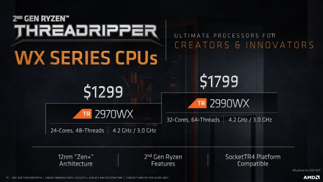 amd announces processor shaking second generation threadripper
