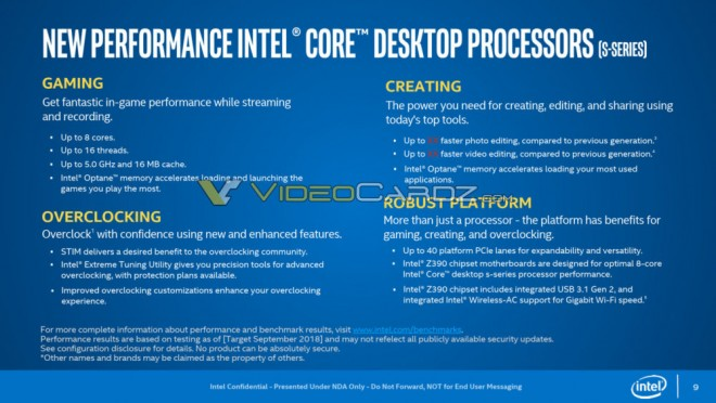 Intel Core i9-9900K i7-9700K i5-9600K slides officiels