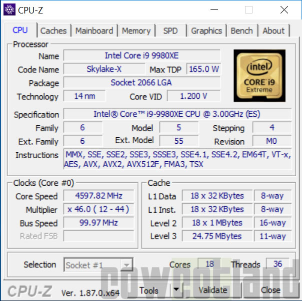 Overclocking processeur Intel Core-i9-9980XE