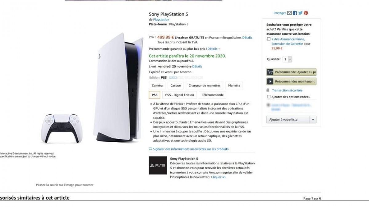 La Playstation 5 de SONY version Blu-Ray listée à 499 euros chez Amazon avec une disponibilité pour le 20 Novembre