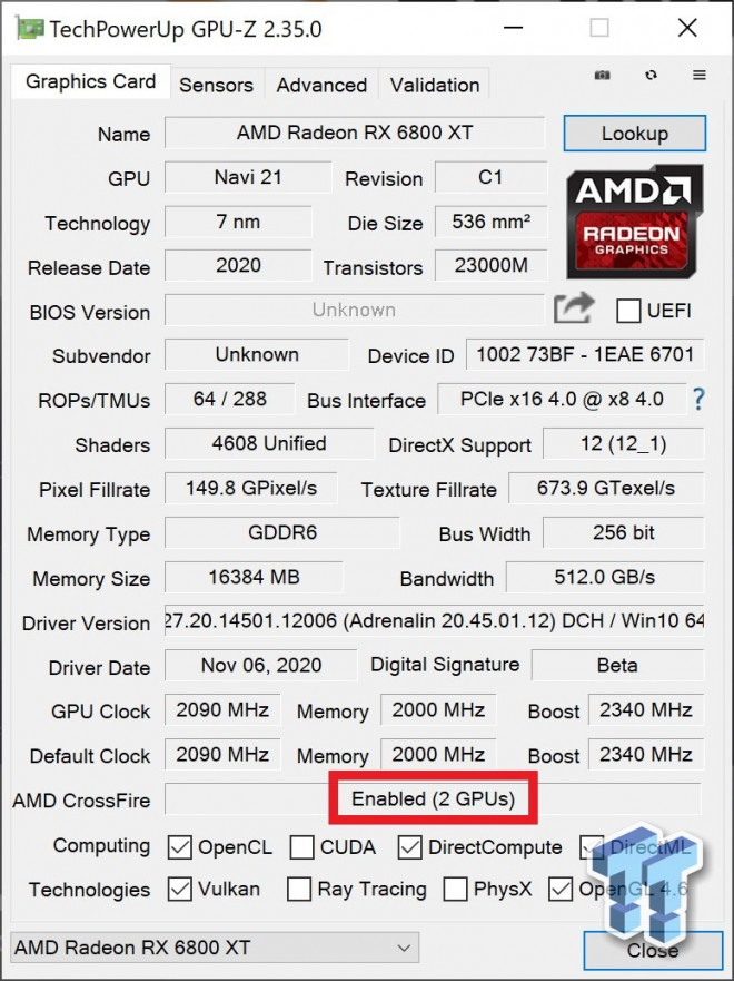 test mGPU amd rx6800XT crossfire