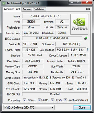 Nvidia GTX 770 et SLI ...