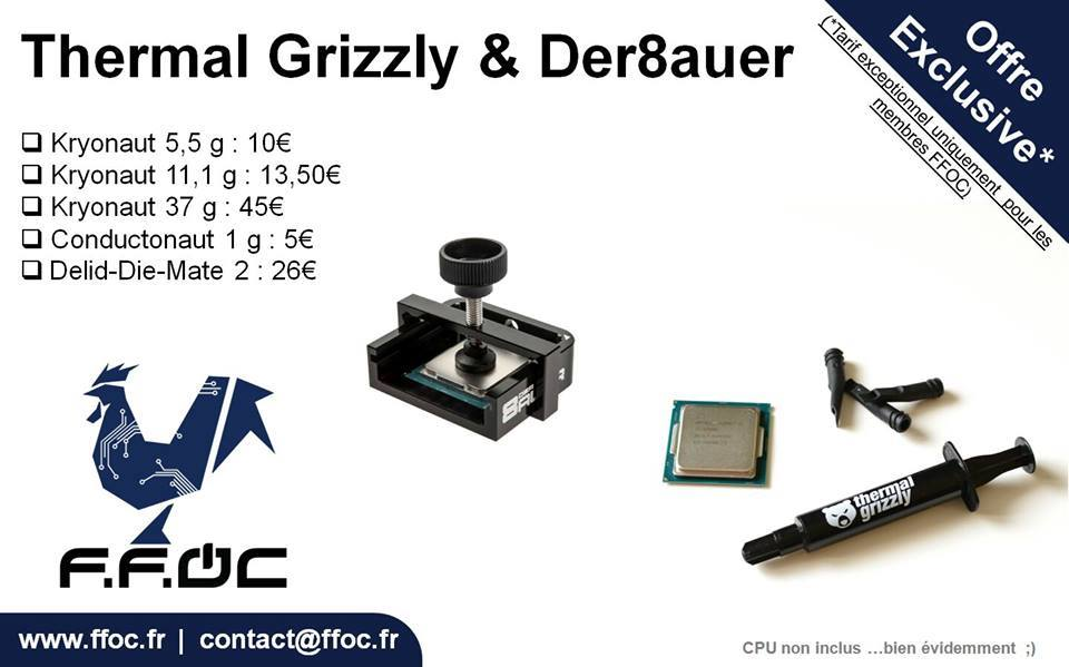 Offre Thermal Grizzly 2017 Offre exceptionnelle pâte thermique Thermal Grizzly.